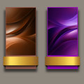 Banners with ribbons set of two web abstract lines and gold Stock Photo