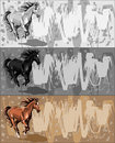 Banners with running horse on grunge bacground Royalty Free Stock Images