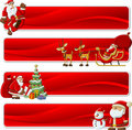 Banners of Santa-Claus on Christmas time Stock Photos