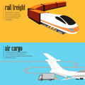 banners set of rail and air transport Royalty Free Stock Photo