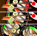Banners set sushi to create web sites Royalty Free Stock Images
