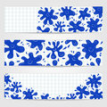 Banners with smiling ink blots three blue Royalty Free Stock Image