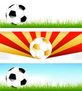 Banners With Soccer Balls. Vector Royalty Free Stock Photos