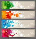 Banners with splashing paints Stock Photos