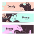 Banners with stylish beautiful woman silhouette in pastel colors Royalty Free Stock Images