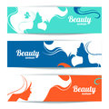 Banners with stylish beautiful woman silhouette template design cards Stock Photography