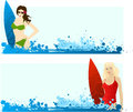 Banners with surfing girls Stock Photography