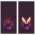 Banners with top hat and magic wand bunny in the Royalty Free Stock Photos