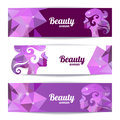 Banners with woman silhouette and triangle pattern template design cards Royalty Free Stock Photography