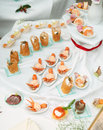 Banquet dish - appetizers made of scampi Royalty Free Stock Image