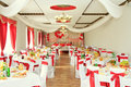 Banquet hall or other function facility set for fine dining Royalty Free Stock Photos