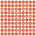 100 banquet icons hexagon orange
