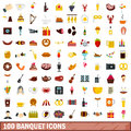 100 banquet icons set, flat style
