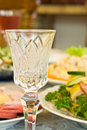 Banquet in the restaurant - crystal wineglass Stock Image