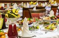 Banquet in the restaurant. Various delicacies, snacks and drinks at the gala event. Catering Royalty Free Stock Photo
