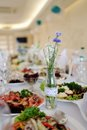 Banquet table with a variety of culinary dishes Stock Photography