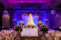Banquet wedding facilities include a dining table cake and the stage Stock Photo