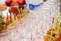 Banquet.Wine glazen op de lijst Stock Foto