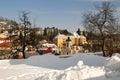 Banská Štiavnica v zime a farský kostol