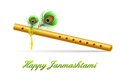Bansuri in janmashtami background illustration of with peacock feather Royalty Free Stock Image
