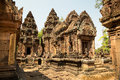 Banteay srei overview of all details temple Royalty Free Stock Photography
