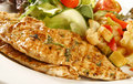 Banting diet grilled chicken breast with salad as normally had in a low carbohydrate high protein Stock Photos