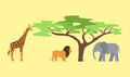 Baobab tree and wild animals isolated on white vector illustration.