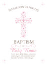 Baptism, Christening, Communion, or Confirmation Invitation Template - Vector Royalty Free Stock Photo