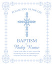 Baptism, Christening, First Communion, Confirmation Invitation Template with Ornate Cross and Border Royalty Free Stock Photo