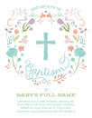 Baptism, Christening, First Holy Communion Invitation Template with Cross and Floral Border Royalty Free Stock Photo