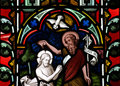 The baptism of Jesus Christ in stained glass Royalty Free Stock Photo