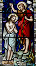 Baptism of Jesus in stained glass Royalty Free Stock Photo