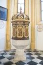 Baptismal font of Church Mary Woerth Royalty Free Stock Photo