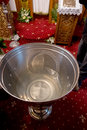 Baptismal font of holy water near altar the in a christian church Royalty Free Stock Photos