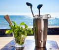 Bar accessories with inox shaker Royalty Free Stock Photo