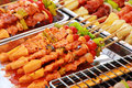 Bar b q or bbq grill of meat skewers barbecue sticks with and vegetables Stock Photography