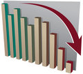 Bar Chart with Arrow going down Stock Image
