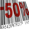 Bar code, discount 50 Stock Photography