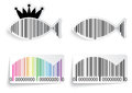 Bar code fish label set illustration of Royalty Free Stock Image