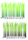 Bar code with fresh green grass Stock Photos