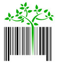 Bar code with green sprouts growing Royalty Free Stock Image