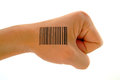 Bar code print on fist a clenched with against a white background for easy extraction Royalty Free Stock Image