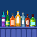 Bar Counter With Alcohol Drink, Bottle Set Collection Royalty Free Stock Photo