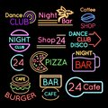 Bar, dance club cafe neon signs isolated on black background Royalty Free Stock Photo
