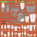 Bar Glassware Cocktails, Beer and Wine Glasses. Flat Barman Tools. Bartender equipment. Isolated instrument icon