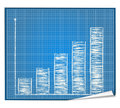 Bar graph blueprint Royalty Free Stock Photography