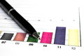 Bar graph data colorful report with black pen Stock Images