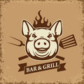 Bar and grill. Pig head with kitchen tools on grunge background. Royalty Free Stock Photo