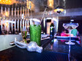 Bar inventory on rubber mat at nightclub soft focus Royalty Free Stock Images