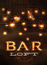 Bar loft glowing lights vintage poster on wood background in retro styles Royalty Free Stock Photos